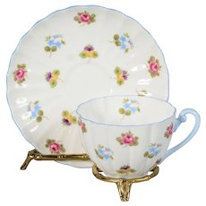 Shelley Roses, Purple Pansies & Forget me Not's Teacup & Saucer