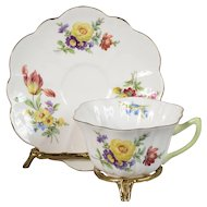 Shelley Stratford Shape Mixed Floral Teacup & Saucer