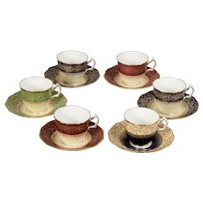 6 George Jones Demitasse Cups & Saucers
