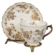 Coalport White & Gold Teacup & Saucer