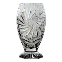 Crystal Pinwheel Design Footed Vase