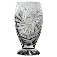 Crystal Pinwheel Design Footed Vase