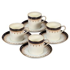4 Aynsley Coffee Can Demitasse Cups & Saucers