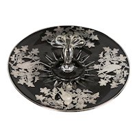 Silver Overlay Center Handled Glass Serving Plate