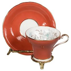 Aynsley Orange Floral Corset Cup & Saucer