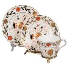 Royal Crown Derby Asian Rose Teacup, Saucer & Plate