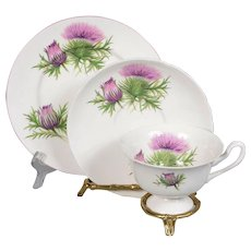 Shelley White Decorated with Thistles Teacup, Saucer & Plate