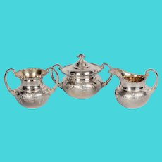 James W. Tufts Quadruple Silver Plate Pattern #2245 Cream, Sugar & Waste
