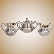 James W. Tufts Quadruple Silver Plate Pattern #2245 Cream, Sugar & Waste