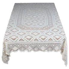 """Crochet/Lace Vintage Tablecloth Approx. 80"""" x 58"""" (203 CM X 147 CM)"""