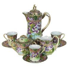 Nippon I E & Co. Cocoa Set Purple Flowers Gold Gilding Early 1900's