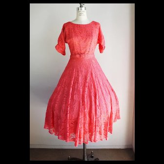 Vintage 1940s 1950s Pink Lace New Look Dress With Belt