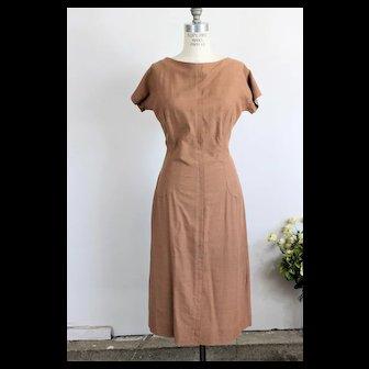 Vintage 1950s Brown Day Dress in Milk Chocolate Brown