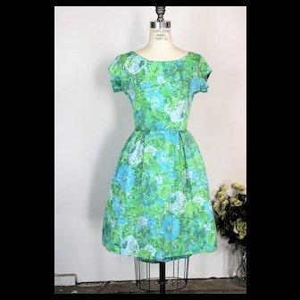 Vintage 1950s 1960s Blue Rose Fit And Flare Dress