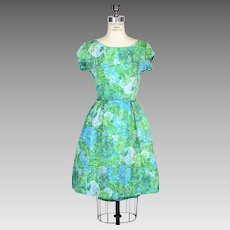 Vintage 1950s 1960s Blue Rose Fit And Flare Dress