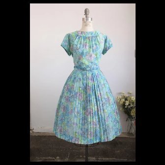 Vintage 1950s Fit And Flare Floral Print Dress With Belt