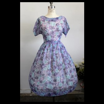Vintage 1950s Blue and Purple Floral Print New Look Dress, Sheer Nylon