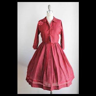 Vintage 1950s Polkadot Dress With Jacket