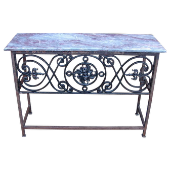 Vintage Wrought Iron Marble Top Console Sofa Table