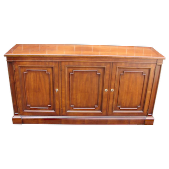 Kindel Cherry Sideboard Credenza With Silver Insert