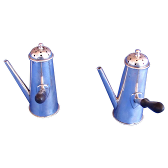 Pair Antique Sterling Silver Novelty Chocolate Pots Salt & Pepper Shakers Chester 1898