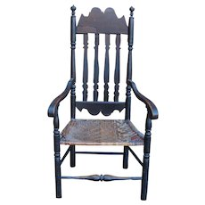 18th Century William & Mary Painted Bannister Arm Chair with Stenciled Crest