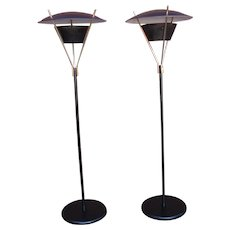Pair Mid Century Modern Lightolier Saucer Style Floor Lamps by Gerald Thurston Atomic Space Age