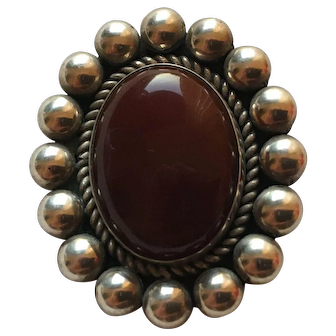 Navajo Signed Carnelian Sterling Pendant Pin