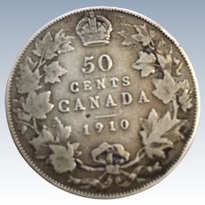 Canada 1910 Sterling Silver 50 Cent Coin Edwardian Leaves