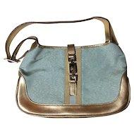 Gucci Jackie Metallic Sparkle Jackie-O Gold Leather Shoulder Bag