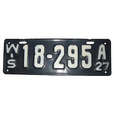 1927 Wisconsin License Plate