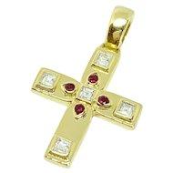 Cartier 18K Yellow Gold Diamond Ruby Vizantija Cross Pendant