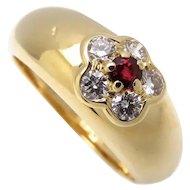 Van Cleef & Arpels 18K Yellow Gold Fleurette Diamond Ruby Ring