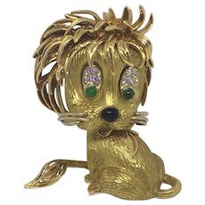 Vintage French 18K Yellow Gold Diamond Emerald Whimsical Lion Cub Brooch