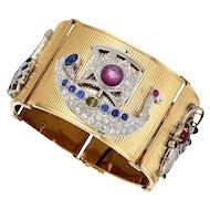 Retro 18K Yellow Gold Bracelet With Art Deco Platinum Charms