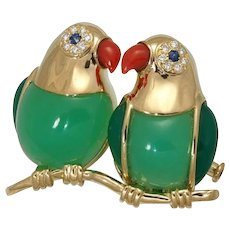 Adorable Van CLeef & Arpels 18K Yellow Gold Love Birds Parrots Brooch