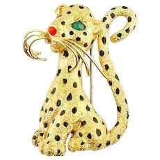 Van CLeef & Arpels 18K Yellow Gold Leopard Brooch Pin