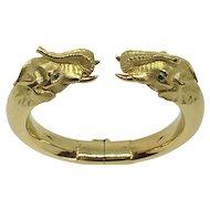 Stunning French Gay Freres 18K Yellow Gold Elephant Bangle Bracelet
