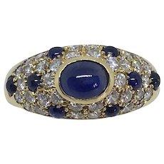 Cartier Diamond Cabochon Sapphire 18k Yellow Gold Ring