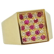 Cartier Mens 18K Yellow Gold Diamond Ruby Ring