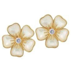 Van Cleef & Arpels Vintage Mimi Nerval Mother Of Pearl 18K Yellow Gold Diamond Earrings