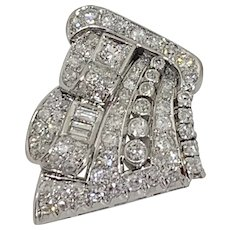 French Art Deco Diamond Platinum And 18k White Gold Brooch