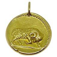 Georges Lenfant 18K Yellow Gold Aries Zodiac Sign Pendant