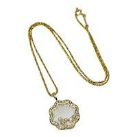 Vintage Chopard 18K Yellow Gold Floating Happy Diamonds Pendant Necklace