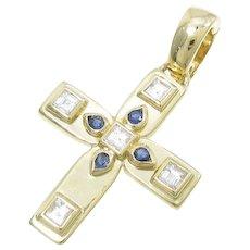 Cartier 18K Yellow Gold Diamond Sapphire Vizantija Cross Pendant