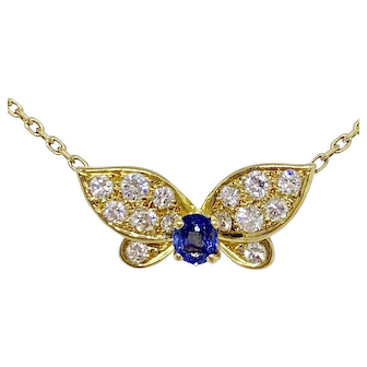 Van Cleef & Arpels 18K Yellow Gold Diamond Sapphire Butterfly Necklace