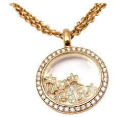 Chopard 18K Yellow Gold Floating Happy Diamonds Stars and Moon Round Pendant Necklace
