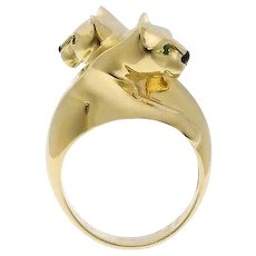 Cartier 18K Yellow Gold Double Panthere Ring sz 53
