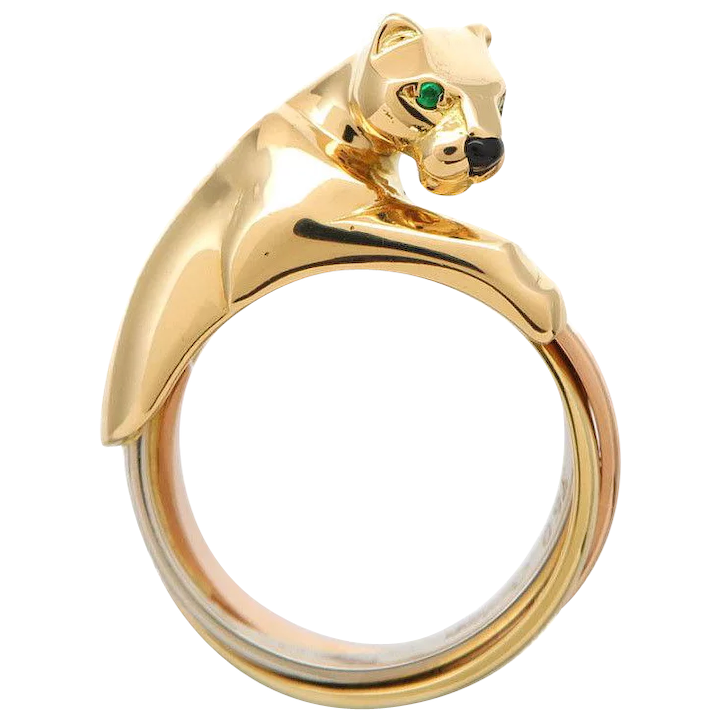 bd8450550cd29 Cartier 18K Yellow Gold Trinity Gold Panthere Ring