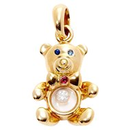 Estate Chopard 18k Yellow Gold & Gem-Set Teddy Bear Pendant